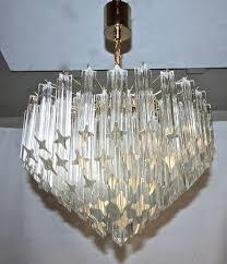 beautiful venini multi tier four light chandelier featuring four point quatro punta plated venini italian quatro punta crystal