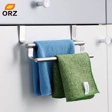 ORZ Kitchen Cabinet Towel Rack Stainless Steel Hook Type Towel Bar