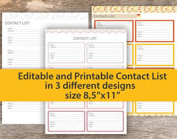 Printable Contact List Delectable Contact List With Editable And PRINTABLE Fields Contact Etsy