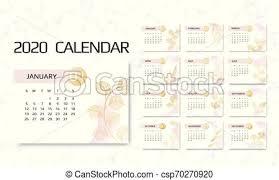 12 Months 2020 Calendar Calendar 2020 Template 12 Months Design With Geometrical Art Lines Week Starts Sunday