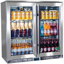 rhino 2 door alfresco outdoor glass door bar fridge model gsp2h ss