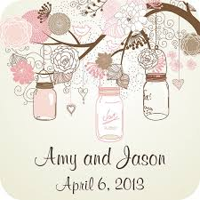 Wedding Labels Personalized Mason Jars on Tree Branch Square Glossy  Stickers for Favors, Envelope Seals, Address Labels and more from  StickerDivas on Etsy ...