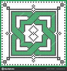 Keltský Nekonečný Uzel V čtvercového Tvaru V černé A Zelené Cross