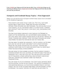 example of a compare contrast essay essay writing structure example compare contrast essay outline