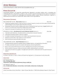 Shining Paraprofessional Resume Adorable Special Education Sample