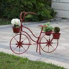 h metal red bicycle planter kd