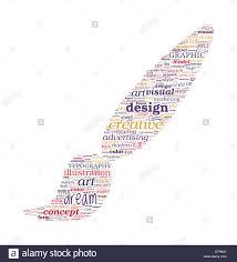 Creative Design Concept Brush Shape Typographic Word Cloud Stock