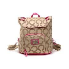 Coach Classic Monogram Medium Khaki Backpacks DHP