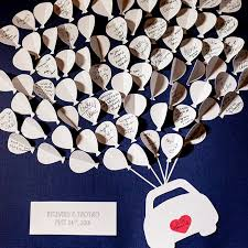 alternative guest book ideas brides Wedding Guest Book Uae illustrate a sweet getaway with cutout paper balloons for each guest to write their notes and wedding guest book etsy