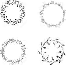 モノクロの花のセット フレームフローラル リース クリップアート