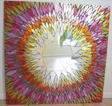 custom made 24 x 24 mosaic mirror sunburst stained glass