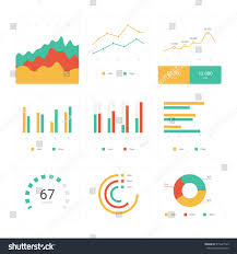 Vector Graphs And Charts Flat Graph Chart Vector Set Colorful Stock Vector Royalty