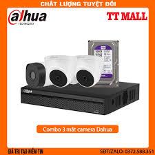 Trọn bộ 3 mắt camera dahua 1080p Kèm ổ cứng 500G lưu trữ + 20m dây liền  nguồn đúc sẵn 2 đầu cho mỗi mắt cam - Hệ thống camera giám sát