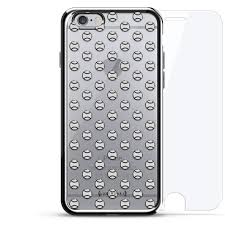 Designer Tempered Glass For Iphone 6 Small White Baseballs Pattern Luxendary Chrome Series 360 Bundle Designer Case Tempered Glass For Iphone 6 6s In Silver