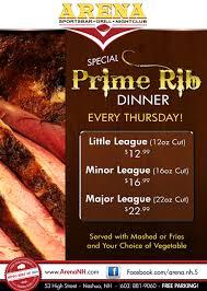 prime rib dinner flyer. Modren Rib PrimeRibDinnerThursdays Arena SportsBar Nashua To Prime Rib Dinner Flyer R