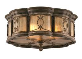 rustic 3 light bronze drum shade flush mount full size