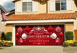 victory corps outdoor holiday garage door banner cover mural décoration 7 x16 red ornaments in snow outdoor holiday garage door