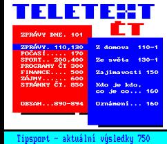 Čt sport je jedním z šesti programů veřejnoprávní české televize a jako televize veřejné služby má trochu jiné sledujeme filmy a seriály zdarma přímo v počítači. Teletext Ct Teletext Ceska Televize