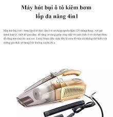 Máy Hút Bụi Cầm Tay Máy Bơm Lốp Xe Máy Đo Áp Suất Lốp Máy Hút Thổi Bụi Máy  hút bụi bơm lốp ô tô 4in1 - bản tiếng anh Đèn Pin