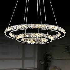led crystal ring chandelier pendant light lamp ceiling fixture home oval shape