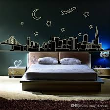 glow in the dark nyc new york skyline wall stickers decal luminous downtown cityscape stars moon airplane bridge building wall murals decor vinyl decals  on new york skyline wall art stickers with glow in the dark nyc new york skyline wall stickers decal luminous