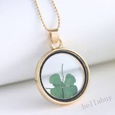 round locket necklace pendants gold chain necklace for women glass clover dried flower necklace