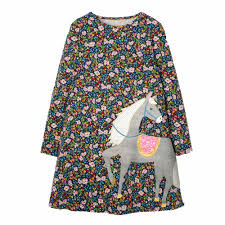 Ladies Dress Design Patterns Girls Dress Cartoon Unicorn Pattern Floral Design Dress