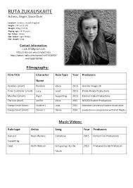 Actress Sample Resumes Simple Gallery Of Ruta Zukauskaite Acting Resume Professional Actor