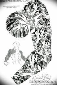 черно белый эскиз тату рукав на руку 11032019 028 Tattoo Sketch