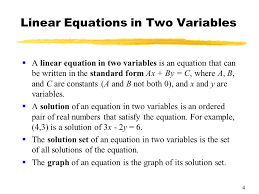 4 linear equations in two variables a linear equation in two variables is an equation