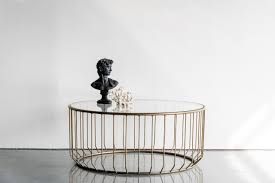 wired round coffee table antique brass