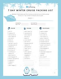 Cruise Packing List 7 Day Winter Cruise Packing List Ezpacking Inc