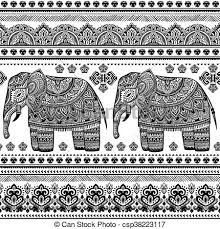 Bohemian Pattern Classy Ethnic Indian Bohemian Style Elephant Seamless Pattern With Tribal