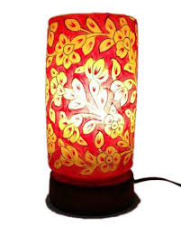 hand painted camel skin lamp cylinder shaped night lamp