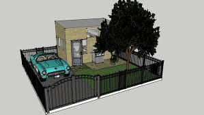 tiny house with garage. tiny house with garage door home full plot in 3d