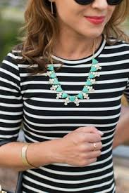 try with one of my 3 black white striped dresses and a colorful statement necklace
