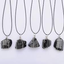 whole black tourmaline pendant necklace raw stone schorl leather necklace chakra healing crystal quartz point pendant natural stone necklace necklace