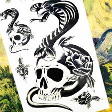 Shnapign Salamander Snake Skull Temporary Tattoo Body Art Arm Flash Tattoo Stickers 1710cm Waterproof Fake Henna Painless