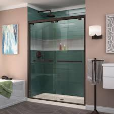 dreamline encore 50 in to 54 in x 76 in semi frameless bypass shower door in brushed nickel shdr 1654760 04 the home depot