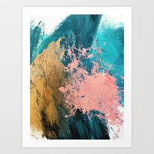 blue teal gold and pink art