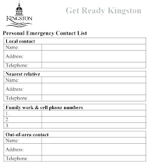 template for emergency contact information contact information sheet template