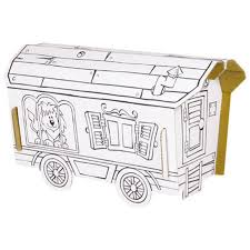 Trailer to build and color with 6 pens included / Kit creative coloring /  DIY kids / kids birthday