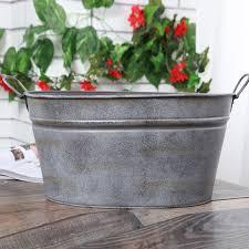 Pastoral Style Retro Silver Iron drum Planter Tin Bucket flower Pots Home  Garden Decoration