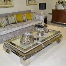 ... Coffee Table, Extraordinary Clear Rectangle Antique Chrome And Glass  Coffee Table Idea: Brilliant Chrome ...