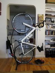 A no-drilling, free-standing, vertical bike stand perfect for small living  spaces--the Minoura