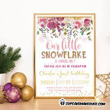 Snowflake Birthday Invitations Pink Snowflake Birthday Invitations Floral Gold