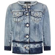 Designer Jean Jacket Emporio Armani Girls Blue Distressed Denim Jacket Emporio