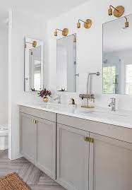 Gray Bathroom Vanity With Gray Herringbone Tiles Contemporary Bathroom