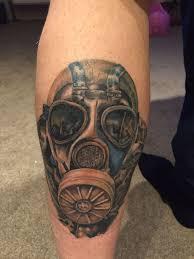 Gas Mask Stalker Tattoo Full Colour Leg Tattoo 2015 Tattoos For