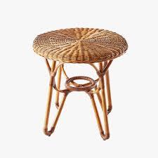 bodega round rattan side table